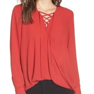 Trouve Red Lace-Up Top Blouse